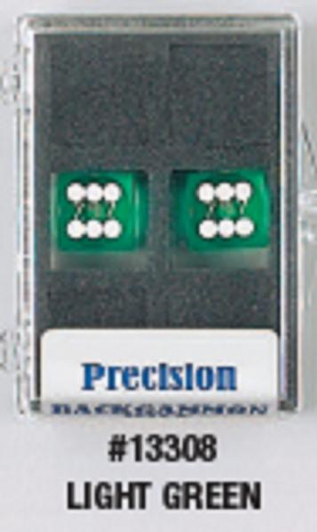 Backgammon Accessories: Light Green Transparent D6 Precision Backgammon Dice w/White Pips