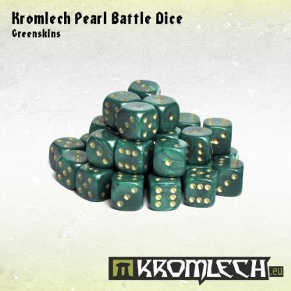 Kromlech Accessories: Pearl Battle Dice - Greenskins 12mm (35)