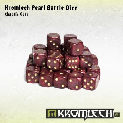 Kromlech Accessories: Pearl Battle Dice - Chaotic Gore Red 12mm (35)
