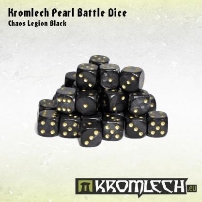 Kromlech Accessories: Pearl Battle Dice - Chaos Legion Black 12mm (35)