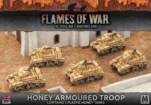 Flames Of War (WWII): (British) Desert Rats Honey Armoured Troop (5) (Plastic)