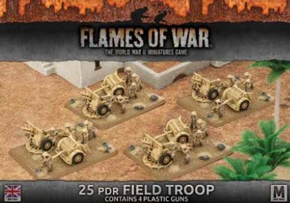 Flames Of War (WWII): (British) Desert Rats 25pdr Field Troop (4) (Plastic)