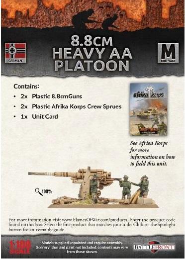Flames Of War (WWII): (German) Afrika Korps 8.8cm Heavy AA Platoon (2) (Plastic)