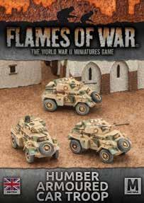Flames Of War (WWII): (British) Desert Rats Humber Armoured Car Troop (x3)
