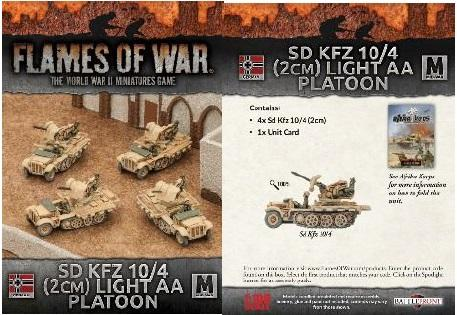 Flames Of War (WWII): (German)  Afrika Korps Sd Kfz 10/4 (2cm) Light AA Platoon (x4)