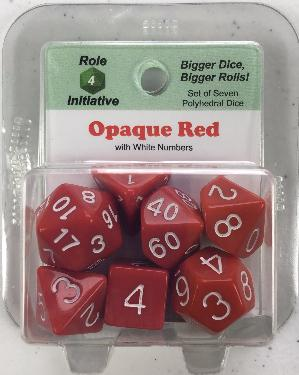 Polyhedral Dice Set: Opaque Red with White Numbers (7)