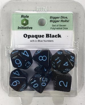 Polyhedral Dice Set: Opaque Black with Lt Blue Numbers (7)