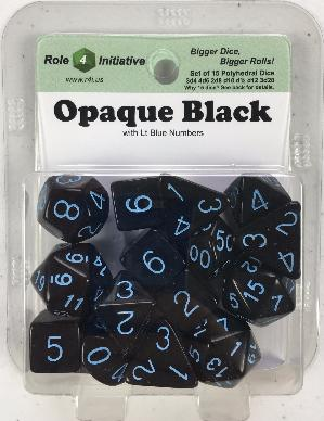 Polyhedral Dice Set: Opaque Black with Lt Blue Numbers (15)