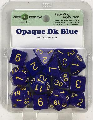 Polyhedral Dice Set: Opaque Dark Blue with Gold Numbers (15)
