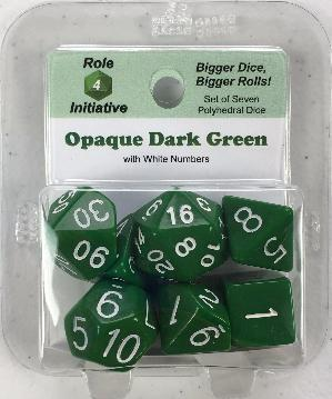 Polyhedral Dice Set: Opaque Dark Green with White Numbers (7)
