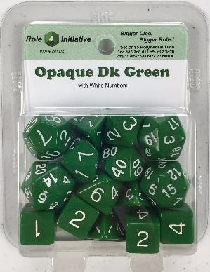 Polyhedral Dice Set: Opaque Dark Green with White Numbers (15)