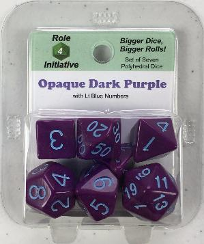 Polyhedral Dice Set: Opaque Dark Purple with Lt Blue Numbers (7)