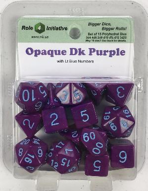 Polyhedral Dice Set: Opaque Dark Purple with Lt Blue Numbers (15)