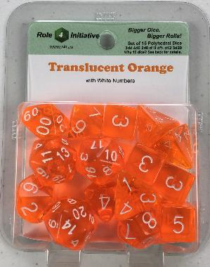 Polyhedral Dice Set: Translucent Orange with White Numbers (15)