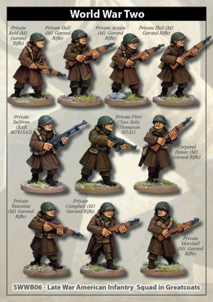 28mm World War II: (USA) Late War American Infantry Squad in Greatcoats