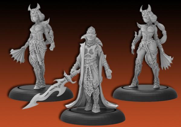 Hordes: (Skorne) Dominar Morghoul & Escorts - Skorne Warlock Unit (metal)