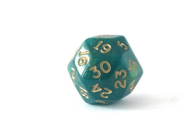 Chessex Special Dice: Gold Shimmer Polyhedral Green/Gold d30