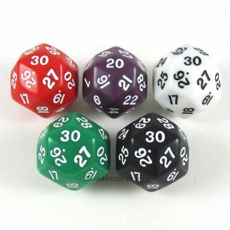 Assorted Opaque Dice with Numbers D30 33mm (1.3in) Pack of 5
