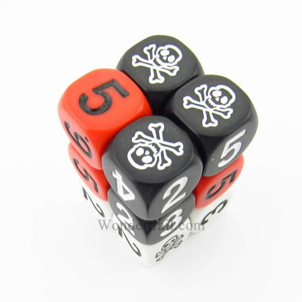 Skulls Novelty Dice D6 Assorted Colors With Assorted Colored Numbers 16mm Box Of 12