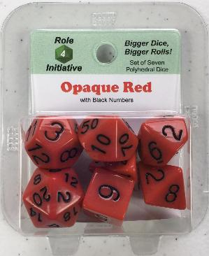 Polyhedral Dice Set: Opaque Red with Black Numbers (7)