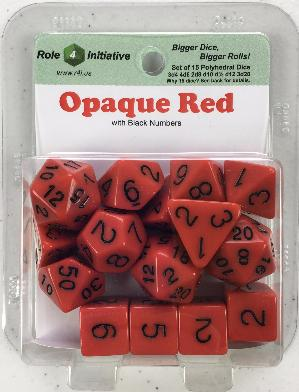 Polyhedral Dice Set: Opaque Red with Black Numbers (15)