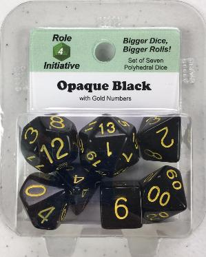 Polyhedral Dice Set: Opaque Black with Gold Numbers (7)