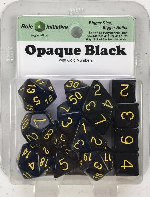 Polyhedral Dice Set: Opaque Black with Gold Numbers (15)
