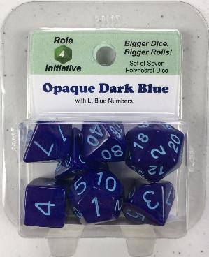 Polyhedral Dice Set: Opaque Dark Blue with Lt Blue Numbers (7)