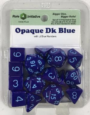 Polyhedral Dice Set: Opaque Dark Blue with Lt Blue Numbers (15)