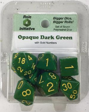 Polyhedral Dice Set: Opaque Dark Green with Gold Numbers (7)