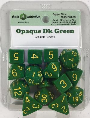 Polyhedral Dice Set: Opaque Dark Green with Gold Numbers (15)