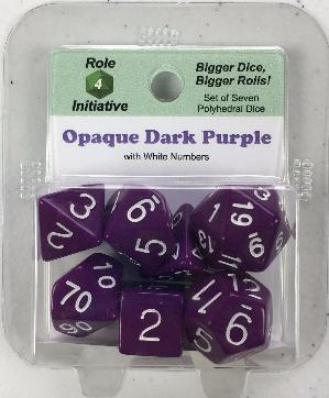 Polyhedral Dice Set: Opaque Dark Purple with White Numbers (7)