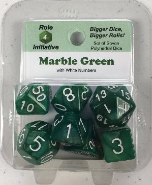 Polyhedral Dice Set: Marble Green with White Numbers (7)
