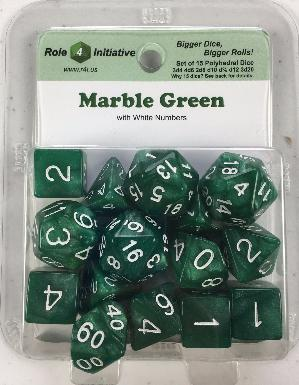 Polyhedral Dice Set: Marble Green with White Numbers (15)