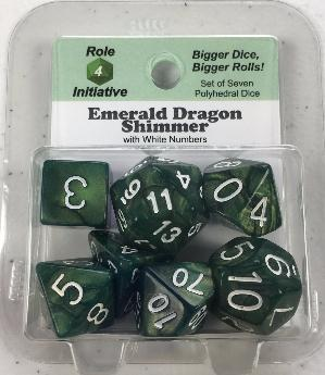 Polyhedral Dice Set: Emerald Dragon Shimmer with White Numbers (7)