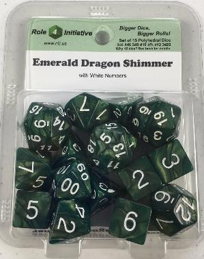 Polyhedral Dice Set: Emerald Dragon Shimmer with White Numbers (15)