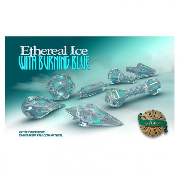 PolyHero Dice: Wizardstone Ethereal Ice with Burning Blue Dice Set (7)