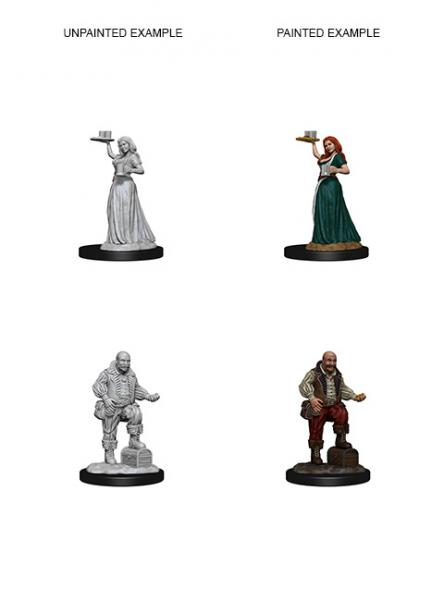 Pathfinder Deep Cuts Unpainted Miniatures: Merchants (Serving Girl/Merchant)