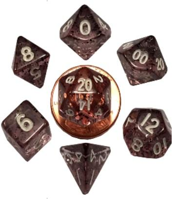 Mini Polyhedral Dice Set: Ethereal Black with White Numbers
