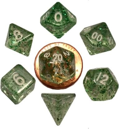 Mini Polyhedral Dice Set: Ethereal Green with White Numbers