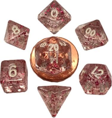 Mini Polyhedral Dice Set: Ethereal Light Purple with White Numbers