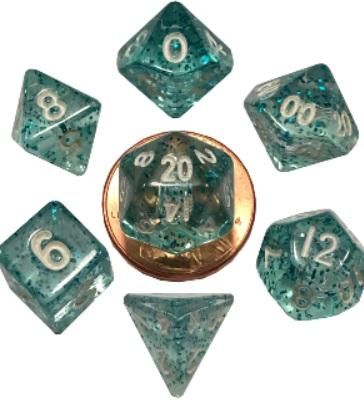 Mini Polyhedral Dice Set: Ethereal Light Blue with White Numbers