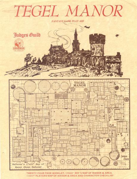 Judges Guild Classic Reprint: Tegel Manor (1E Adventure, w/maps)