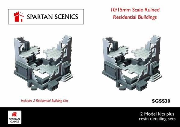 Spartan Scenics: Residential Ruined Buildings 10/15mm