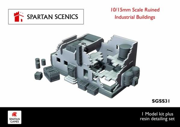 Spartan Scenics: Industrial Ruined Building 10/15mm