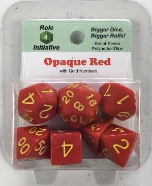 Polyhedral Dice Set: Opaque Red with Gold Numbers (7)