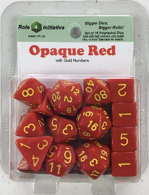 Polyhedral Dice Set: Opaque Red with Gold Numbers (15)