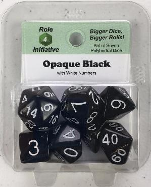 Polyhedral Dice Set: Opaque Black with White Numbers (7)