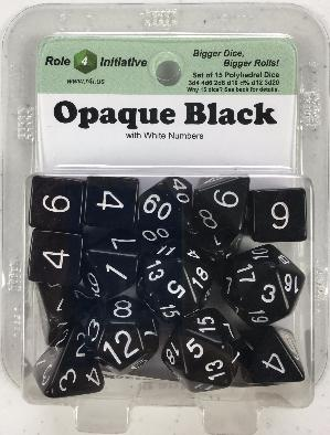 Polyhedral Dice Set: Opaque Black with White Numbers (15)