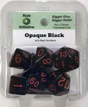 Polyhedral Dice Set: Opaque Black with Red Numbers (7)